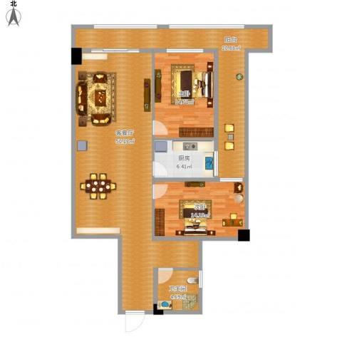 银基商贸城2室1厅1卫1厨154.00㎡户型图