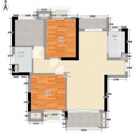 海逸・锦绣公馆2室1厅1卫1厨88.00㎡户型图