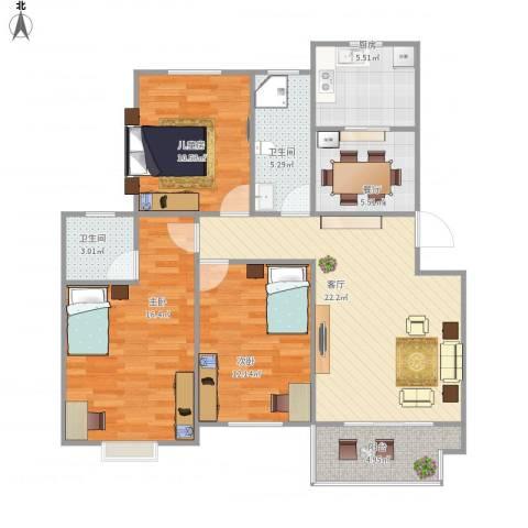 运河人家3室2厅2卫1厨116.00㎡户型图