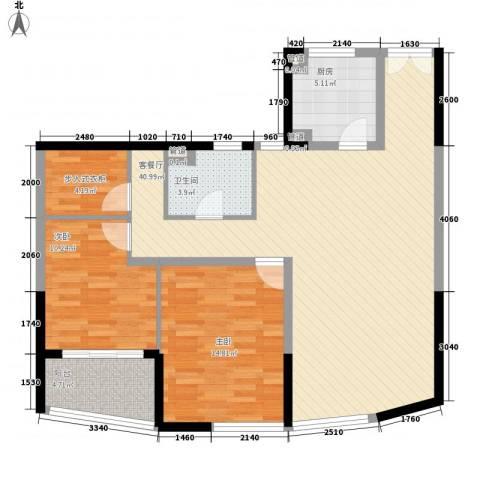 万达星城2室1厅1卫1厨120.00㎡户型图