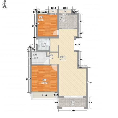 绿地布鲁斯小镇公寓2室1厅1卫1厨86.00㎡户型图