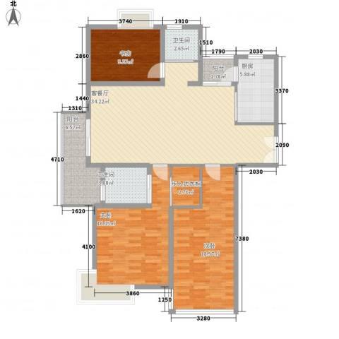 金色新城熙园3室1厅2卫1厨144.00㎡户型图
