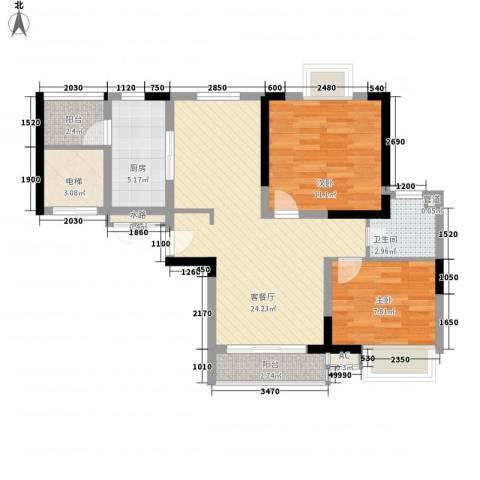 东方御水湾2室1厅1卫1厨89.00㎡户型图
