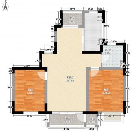 融城时代2室1厅1卫1厨106.00㎡户型图