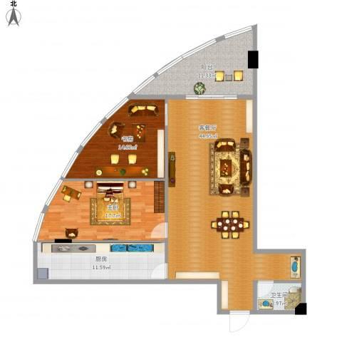 银基商贸城2室1厅1卫1厨141.00㎡户型图