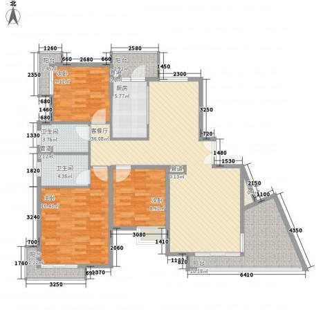 恒大雅苑3室1厅2卫1厨146.00㎡户型图