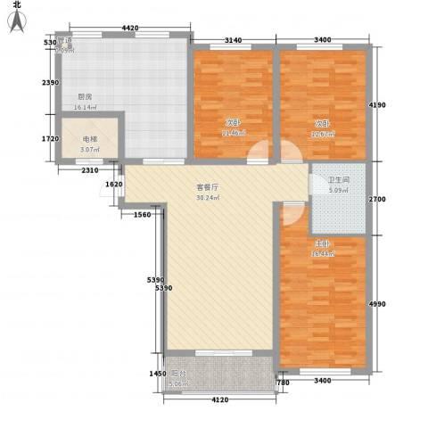 丽和阳光城3室1厅1卫1厨128.00㎡户型图