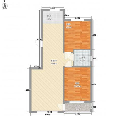 桃源山庄峰景2室1厅1卫0厨88.00㎡户型图