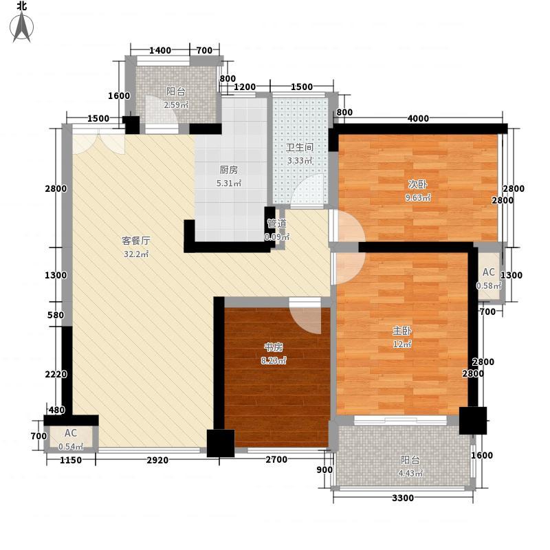 壹锦园76.00㎡4栋A户型3室2厅1卫1厨