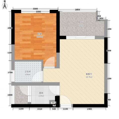 东方新居1厅1卫1厨58.00㎡户型图