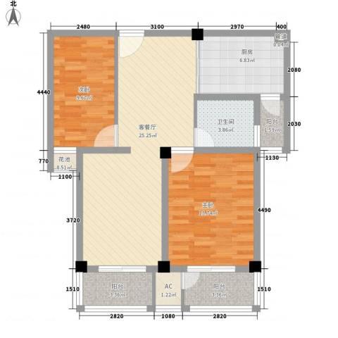 恒天新世界2室1厅1卫1厨102.00㎡户型图