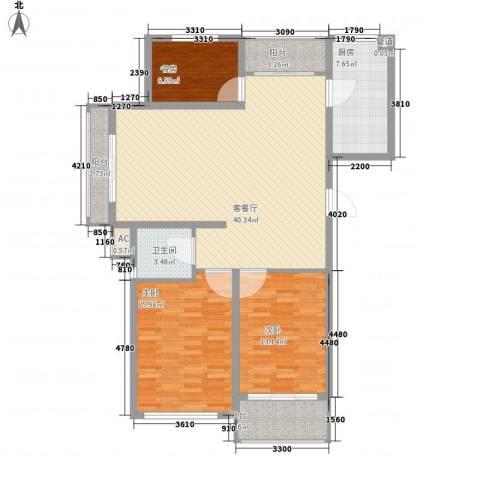 丽和阳光城3室1厅1卫1厨122.00㎡户型图