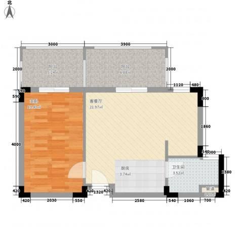 兴隆太阳谷温泉城1室1厅1卫0厨65.00㎡户型图