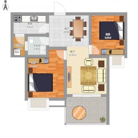 龙腾盛世2室1厅1卫1厨84.00㎡户型图
