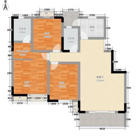 万华紫金花苑3室1厅2卫1厨139.00㎡户型图