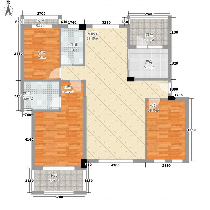 奥林匹克花园124.00㎡TH4-4户型3室2厅2卫1厨
