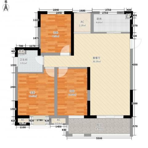 昌和水岸花城3室1厅1卫1厨115.00㎡户型图