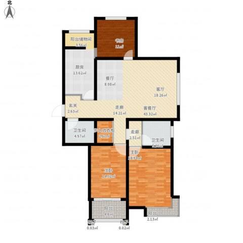 东方明珠广场3室1厅2卫1厨176.00㎡户型图