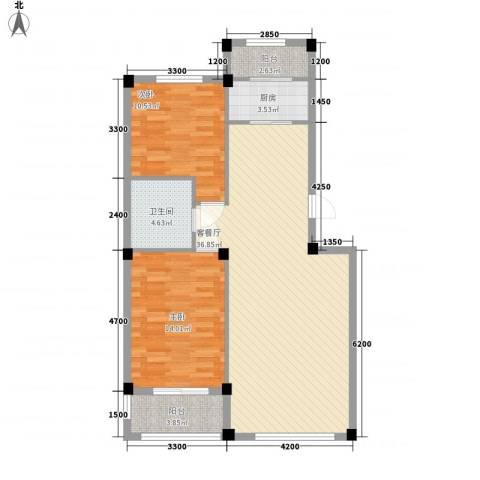 桃源山庄峰景2室1厅1卫1厨82.00㎡户型图