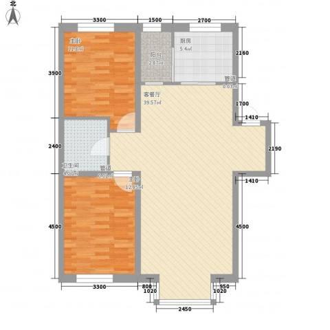 紫郡城2室1厅1卫1厨100.00㎡户型图