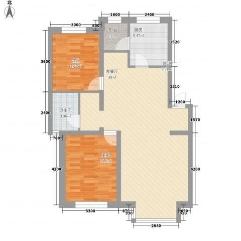 紫郡城2室1厅1卫1厨96.00㎡户型图
