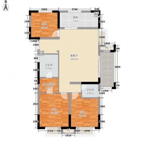 昌和水岸花城3室1厅2卫1厨137.00㎡户型图