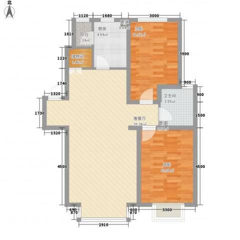 紫郡城2室1厅1卫1厨94.00㎡户型图