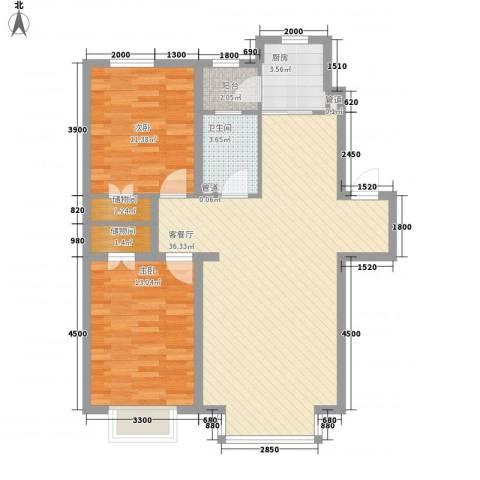 紫郡城2室1厅1卫1厨92.00㎡户型图