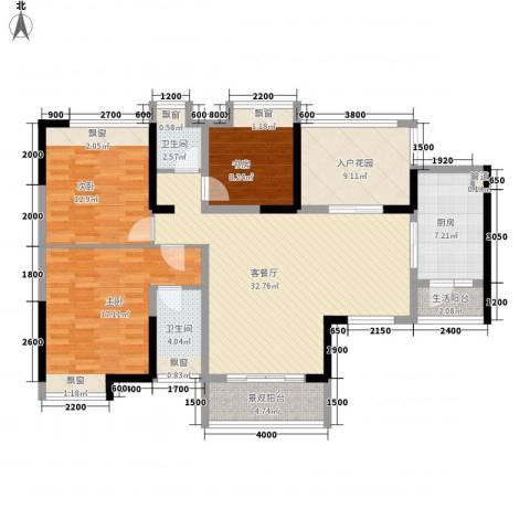 自考办家属院3室1厅2卫1厨145.00㎡户型图