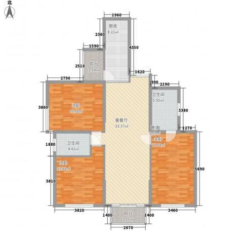 东方剑桥3室1厅2卫1厨148.00㎡户型图