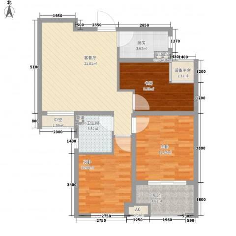 保利拉菲公馆3室1厅1卫1厨76.22㎡户型图