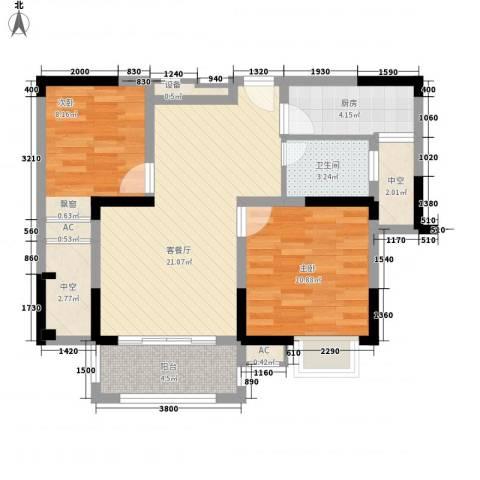 中宸御龙湾2室1厅1卫1厨87.00㎡户型图