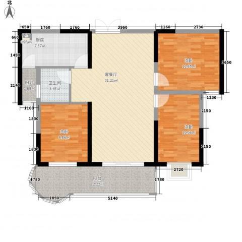 红海名仕公馆3室1厅1卫1厨115.00㎡户型图