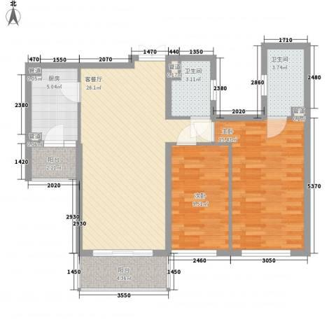 东方剑桥2室1厅2卫1厨100.00㎡户型图