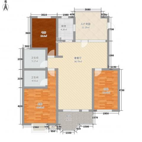 翠屏湾2期兰卡威小镇3室1厅2卫1厨140.00㎡户型图