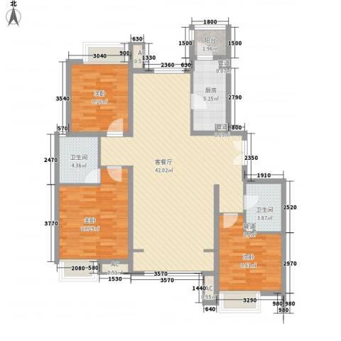 融科橄榄城三期君邑3室1厅2卫1厨131.00㎡户型图