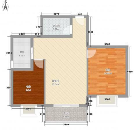 翠屏湾2期兰卡威小镇2室1厅1卫1厨89.00㎡户型图