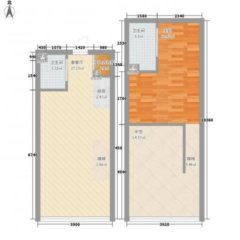 大运城公寓1室1厅2卫0厨74.58㎡户型图