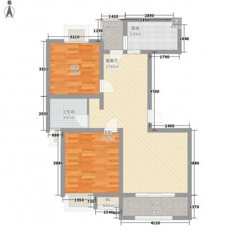 惠南一方新城2室1厅1卫1厨95.00㎡户型图