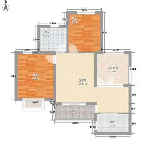 滨湖世纪城春融苑2室1厅1卫1厨90.00㎡户型图