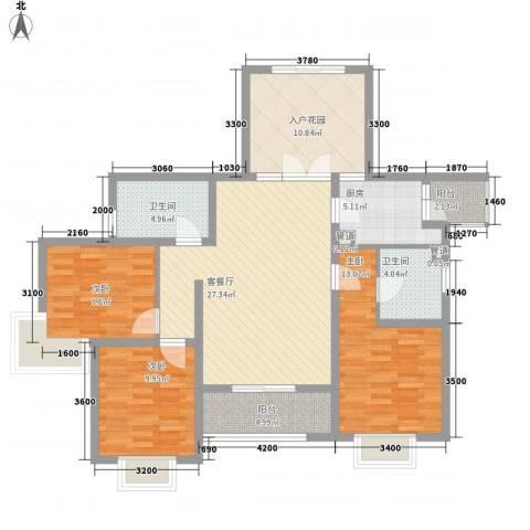 滨湖世纪城春融苑3室1厅2卫1厨92.21㎡户型图