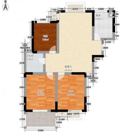 枫林雅都3室1厅1卫1厨101.00㎡户型图