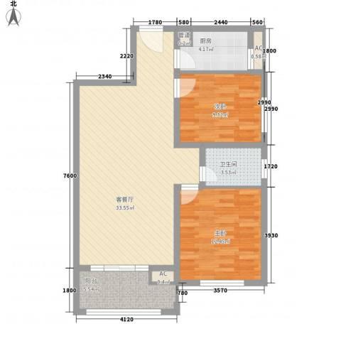 梅龙苑2室1厅1卫1厨100.00㎡户型图