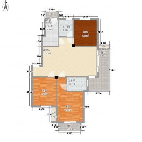秀州咖尔花园3室1厅2卫1厨118.00㎡户型图