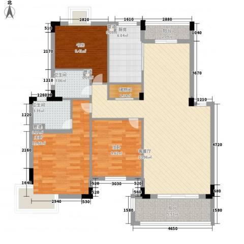 紫金园3室1厅2卫1厨125.00㎡户型图