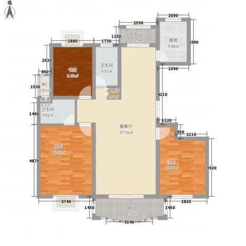 爱法山水国际3室1厅2卫1厨97.39㎡户型图