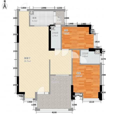 盈拓郦苑2室1厅2卫1厨95.00㎡户型图