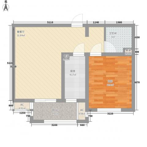 惠南一方新城1室1厅1卫1厨65.00㎡户型图