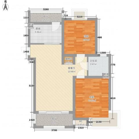 惠南一方新城2室1厅1卫1厨92.00㎡户型图