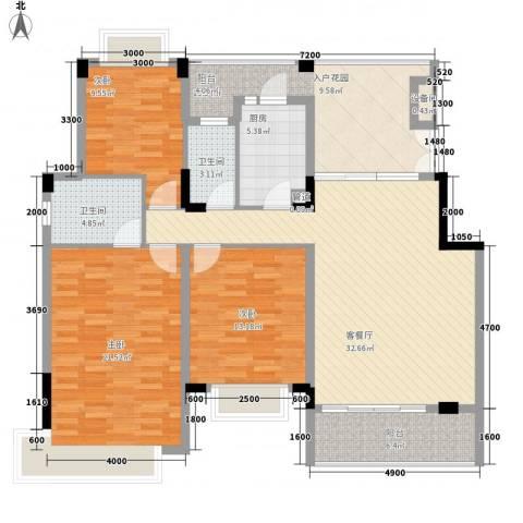 光明农场东区3室1厅2卫1厨130.00㎡户型图